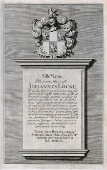 V0018882 Epitaph on John Locke's tomb; above which is a coat of arms. Credit: Wellcome Library, London. Wellcome Images images@wellcome.ac.uk http://wellcomeimages.org Epitaph on John Locke's tomb; above which is a coat of arms. Etching. Published: - Copyrighted work available under Creative Commons Attribution only licence CC BY 4.0 http://creativecommons.org/licenses/by/4.0/